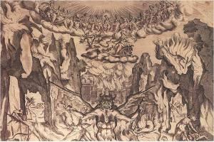 Epifanio d'Alfiano (da B. Buontalenti), Acquaforte del IV intermezzo de La Pellegrina (1592)