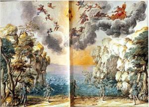 Giacomo Torelli, scena del III atto di Andromède (1650)