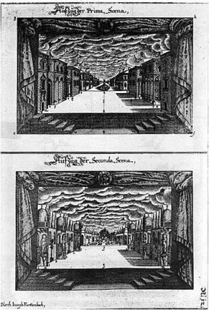"""Joseph Furttenbach, disegni per la """"Prima Scena"""" e la """"Seconda Scena"""""""
